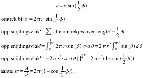 Set van formules om te komen van stralingshoek naar steradialen