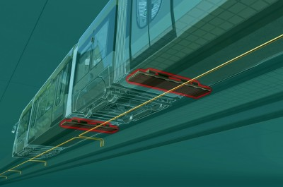 Spoelen aan de onderkant van de tram