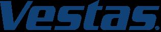 Het logo van de Deense windturbine fabrikant Vestas