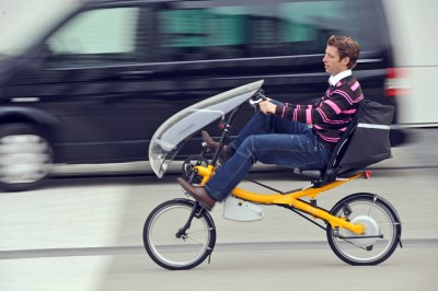 Met de elektrische ligfiets naar het werk