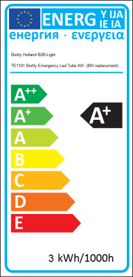 Energy Label Bortly Holland B2B-Light -  TE1101 Bortly Emergency Led Tube 4 Watt  (8 Watt replacement)