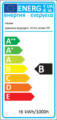 Energy Label Maxibel - CFL storage luminaire 42V AC without PIR