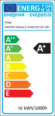 Energy Label Philips - MASTER LEDbulb D 10-60W E27 827 A60