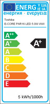 Energy Label Toshiba - E-CORE PAR16 LED 5.0W WW