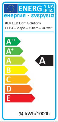 Energy Label KLV Ledverlichting - PLP-S-Shape–120cm–34 watt