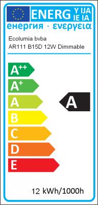 Energielabel Ecolumia - AR111 B15D 12W Dimmable