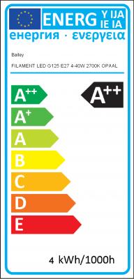 Energy Label Bailey - FILAMENT LED G125 E27 4-40W 2700K OPAL