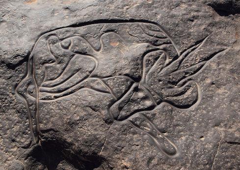 Slapende antilope, muurtekening in Algerije