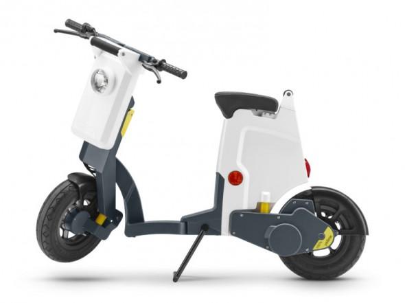 Doordat er geen uitlaat, benzinetank enz. aanwezig is bij de elektrische scooter, kan deze opvouwbaar worden gemaakt.
