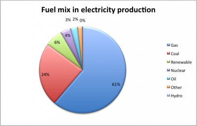 Figure 1: Dutch electricity production (2005). Source: Energieraad.