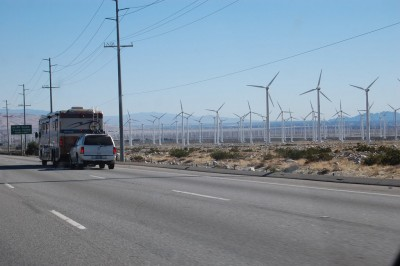 Wind farm seen from interstate 10