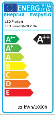 Energy Label LED Flatlight - Ledpaneel 60x60 first old measurement