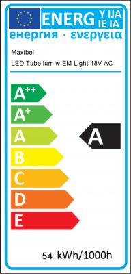 Energy Label LED Tube luminaire with emergency lighting 48V AC